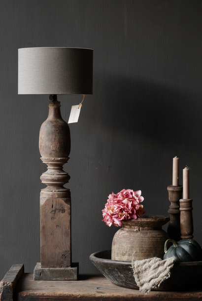 Old wooden Baluster lamp