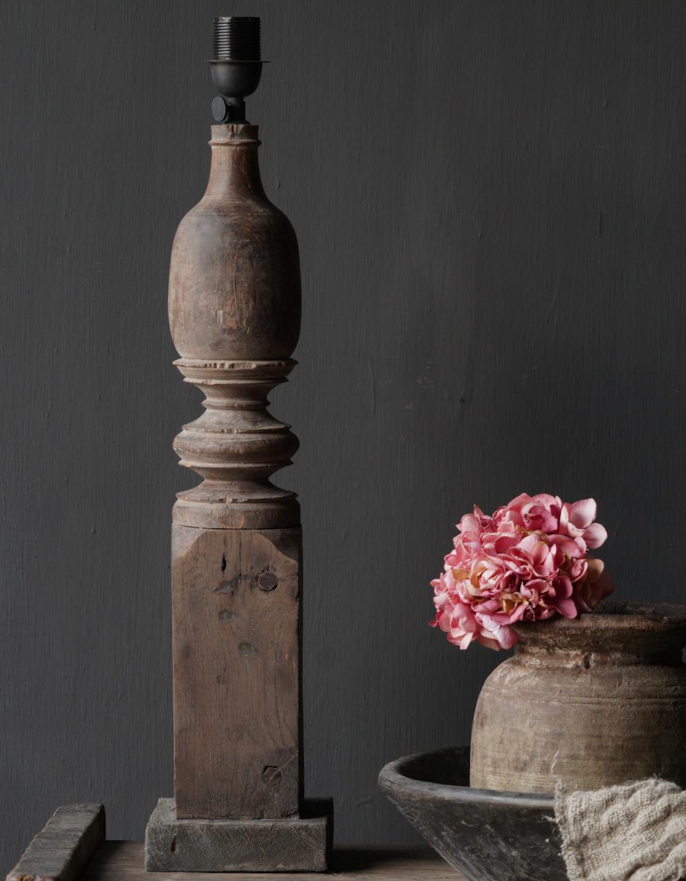 Oude houten Baluster lamp-3