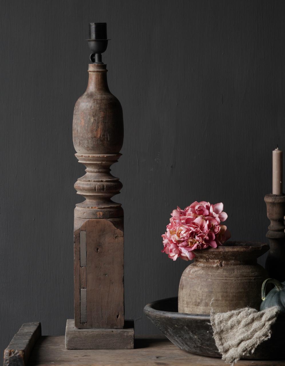 Oude houten Baluster lamp-4