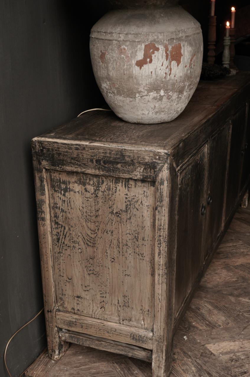 Oude Authentieke Zwart/Bruin  Dressoir met  vier deurtjes-3