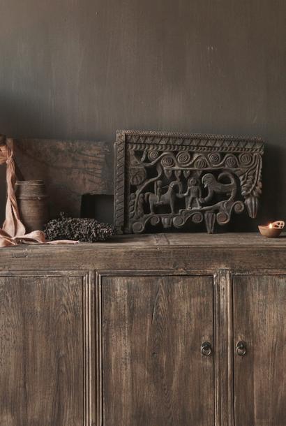 Prachtig groot oud houten ornament