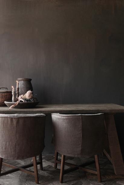 Robuster alter Esszimmertisch aus Holz mit A-Bein