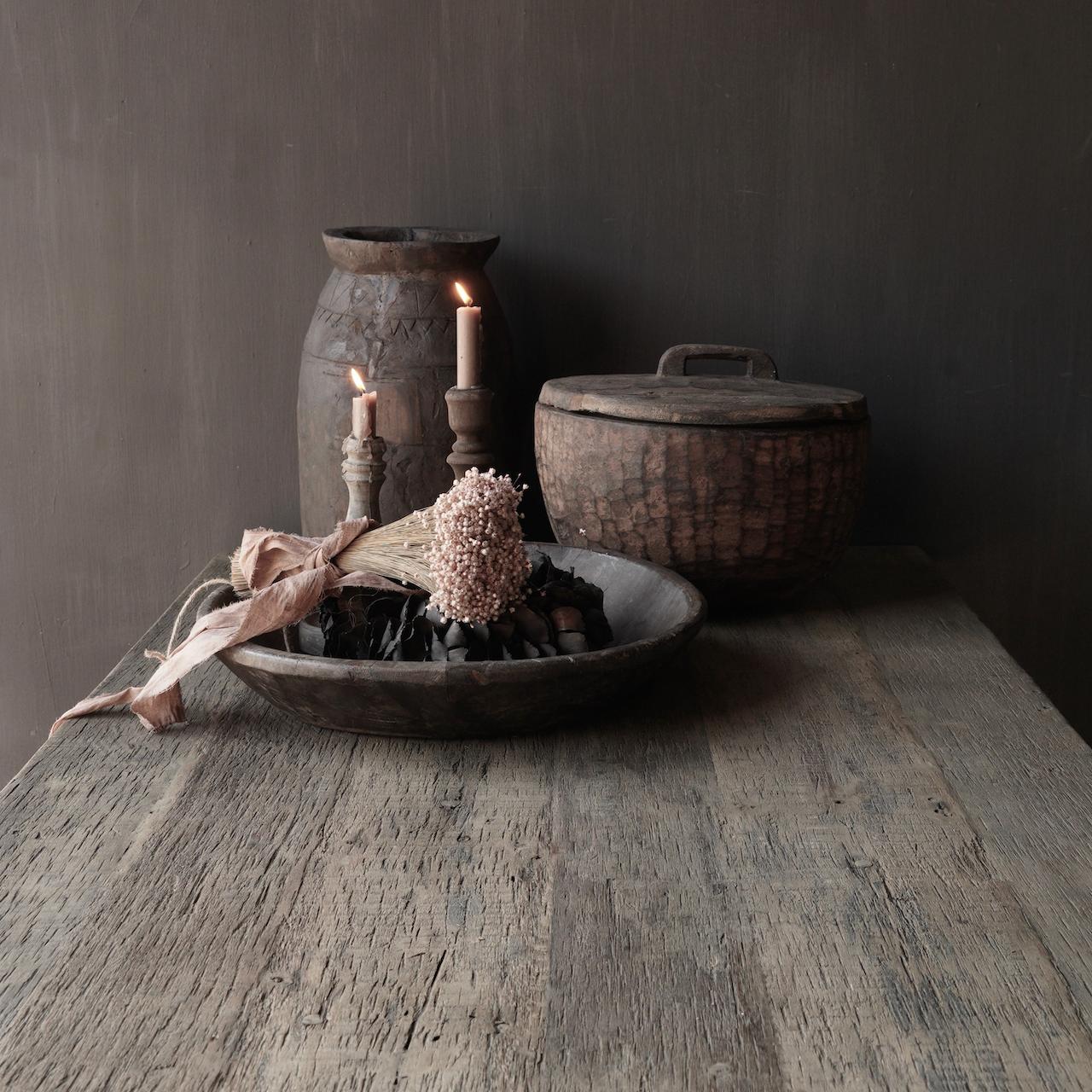 Stoer  oud houten eetkamer tafel  met A poot-8