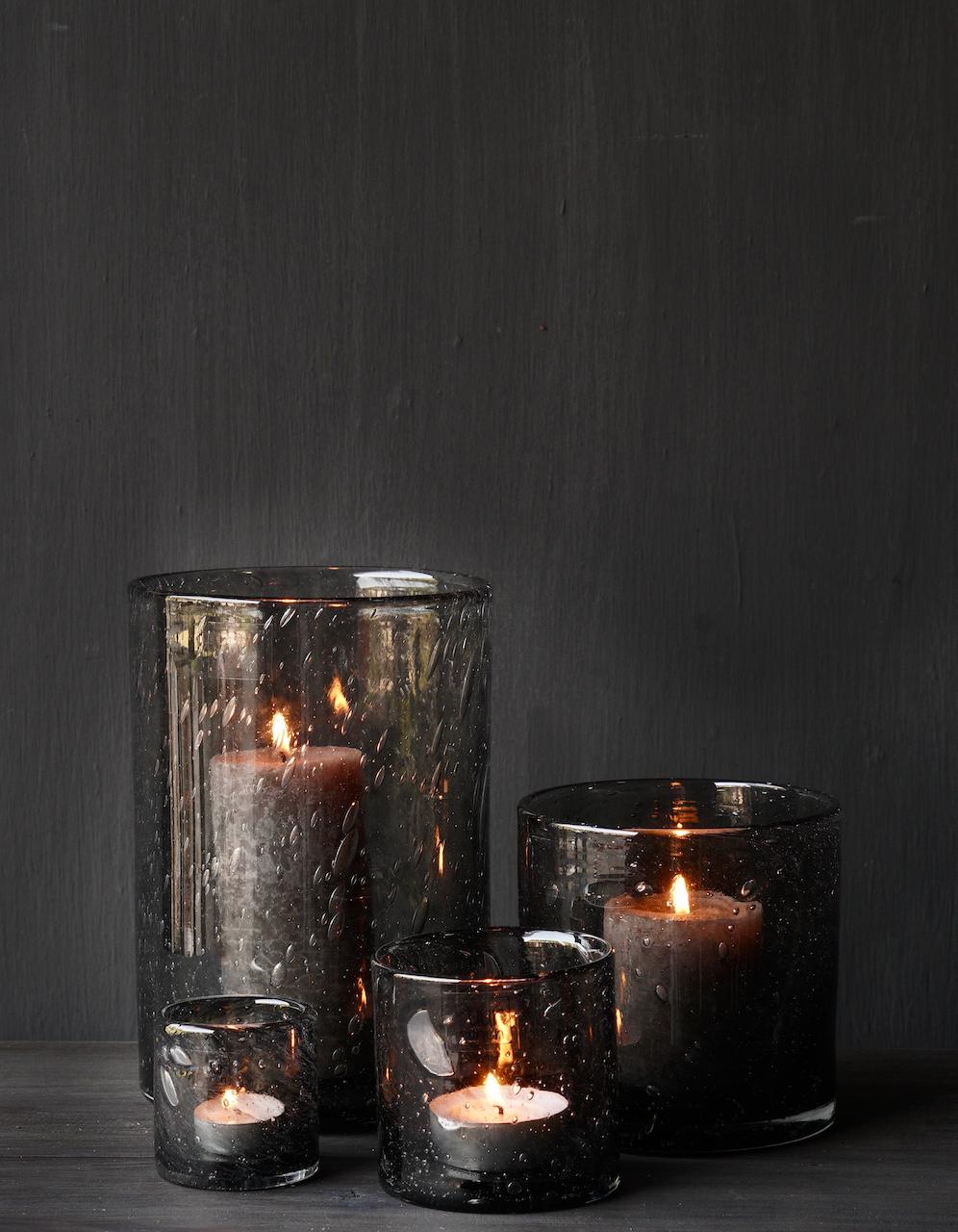 Dickes Glas Laterne Smokey Grey Pure Living-1