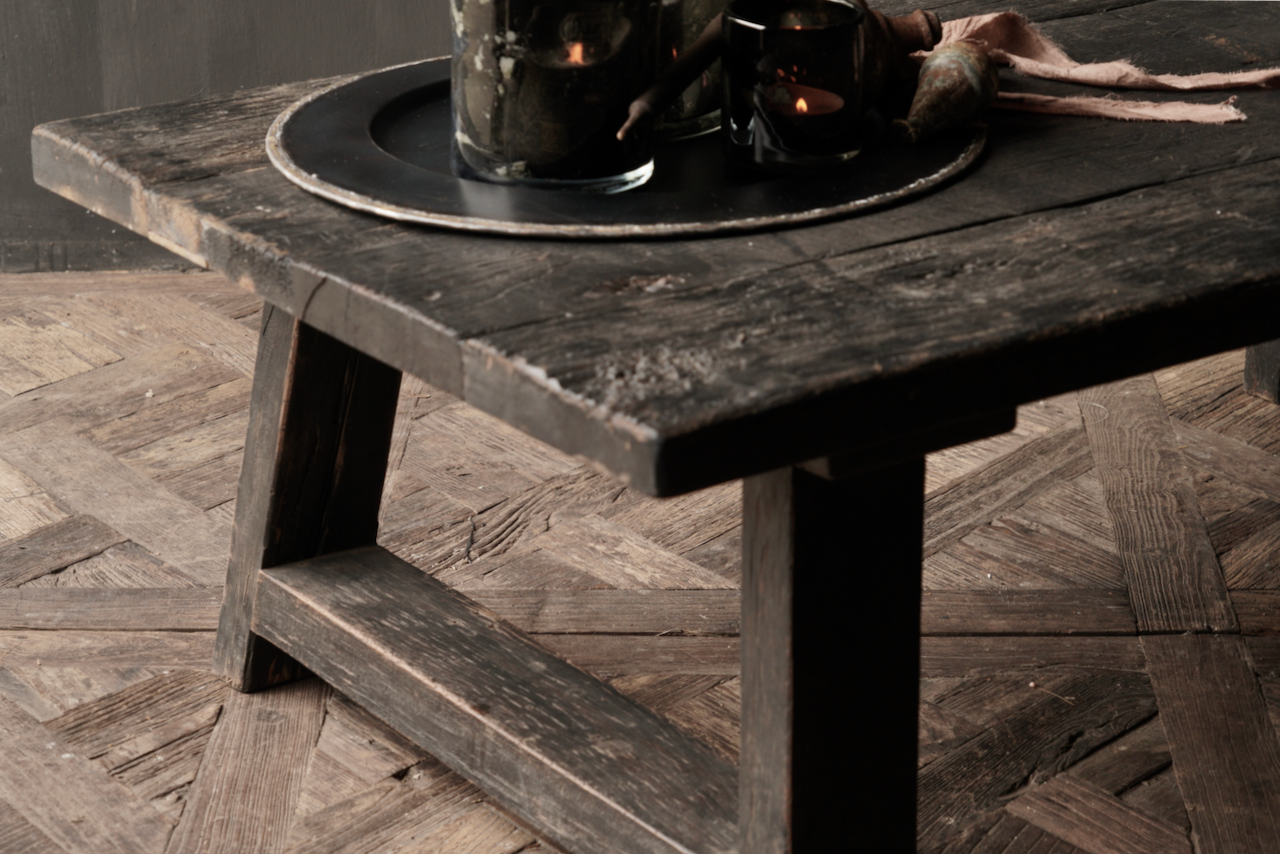Tough robust black Country coffee table made of old wood (Staltafel)-3