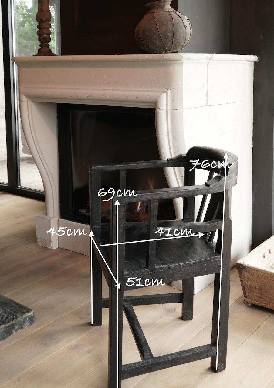 Unieke zwart/bruin houten stoeltjes met ronde leuning-6