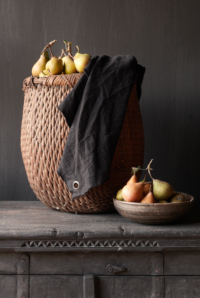 Leinen Küchenhandtuch schwarz ausgefranst