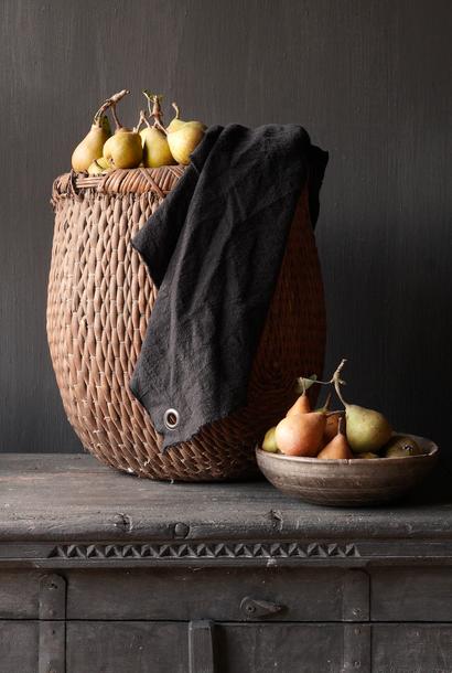 Linen kitchen towel frayed black