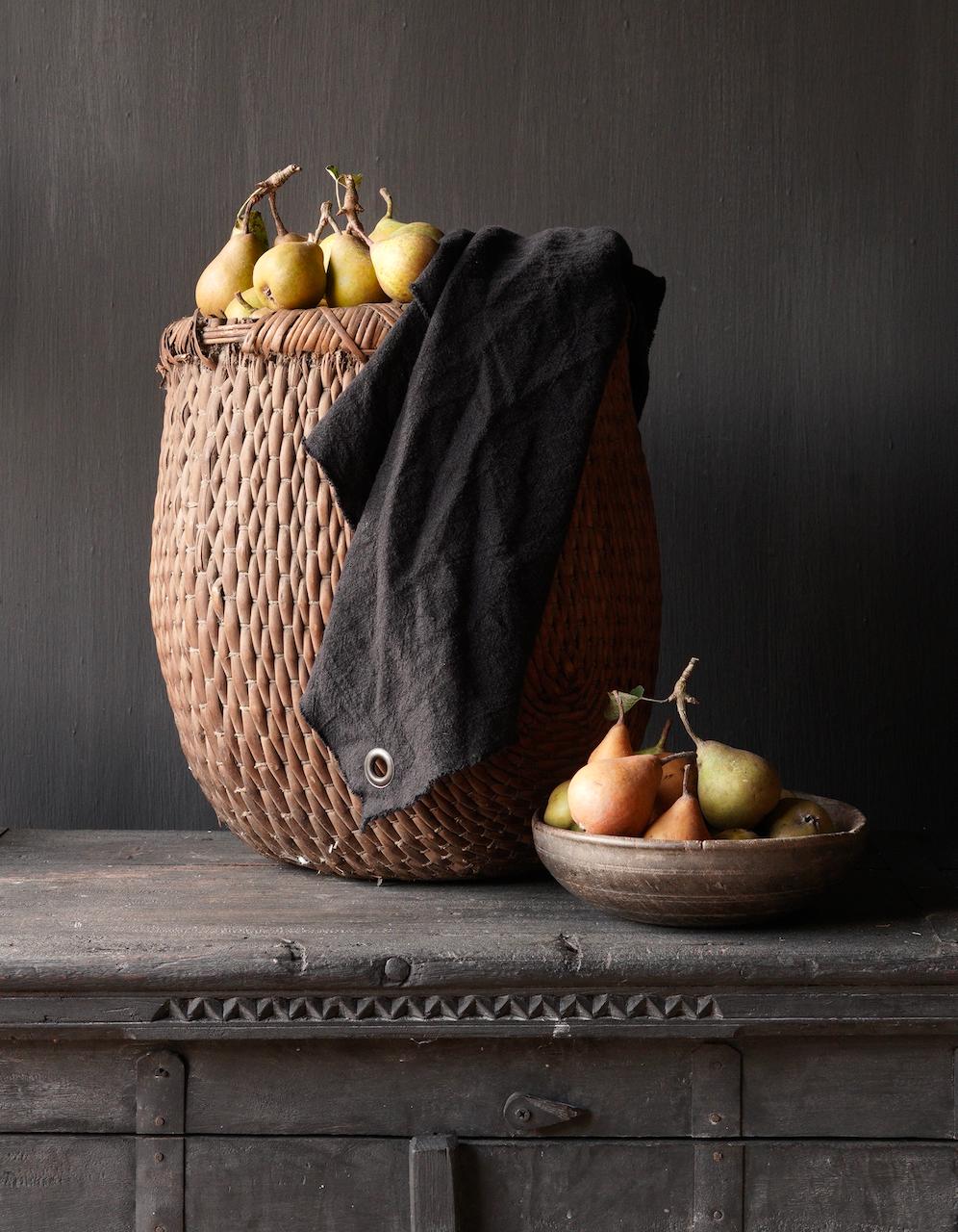 Linen kitchen towel frayed black-1