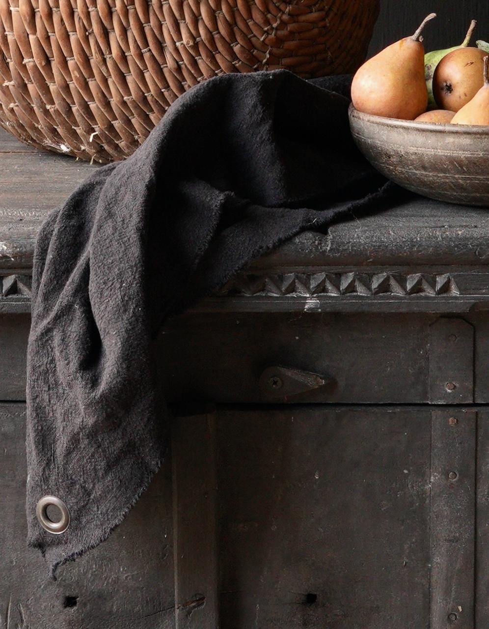 Linen kitchen towel frayed black-2