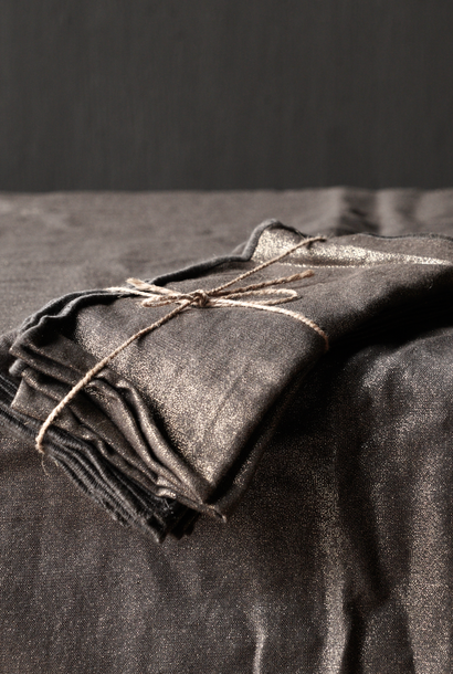 Zwarte/Goud linnen  servet set van vier