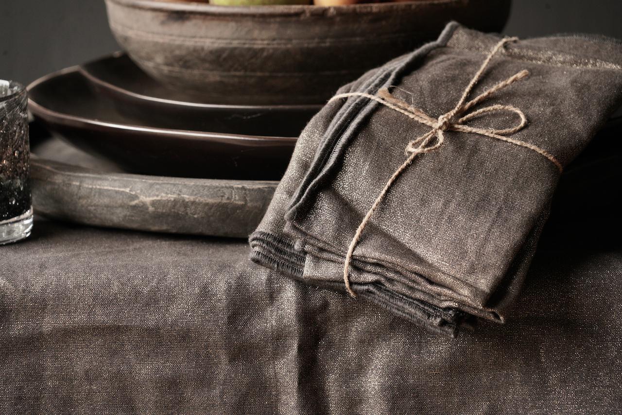 Zwarte/Goud linnen  servet set van vier-3