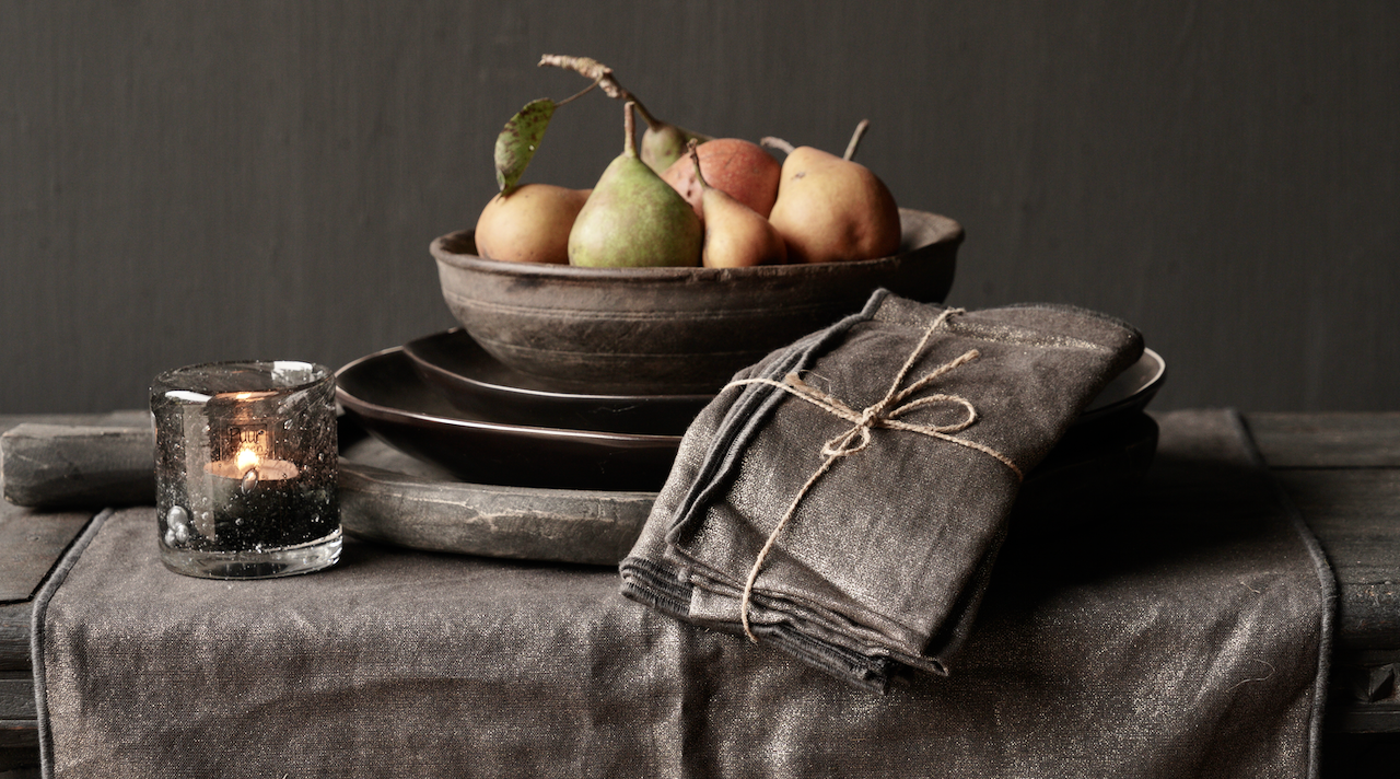 Zwarte/Goud linnen  servet set van vier-2