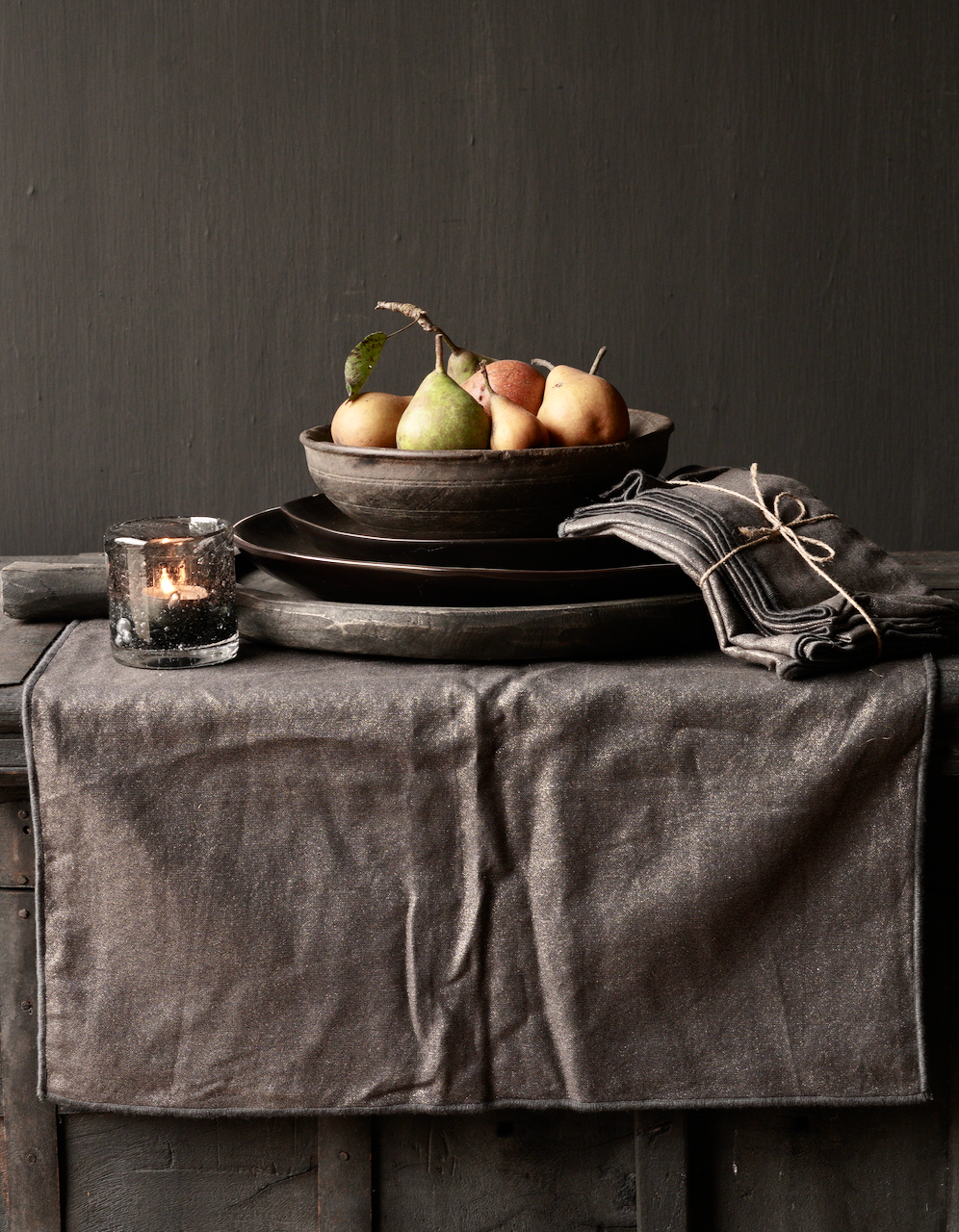 Zwarte/Goud linnen  servet set van vier-4