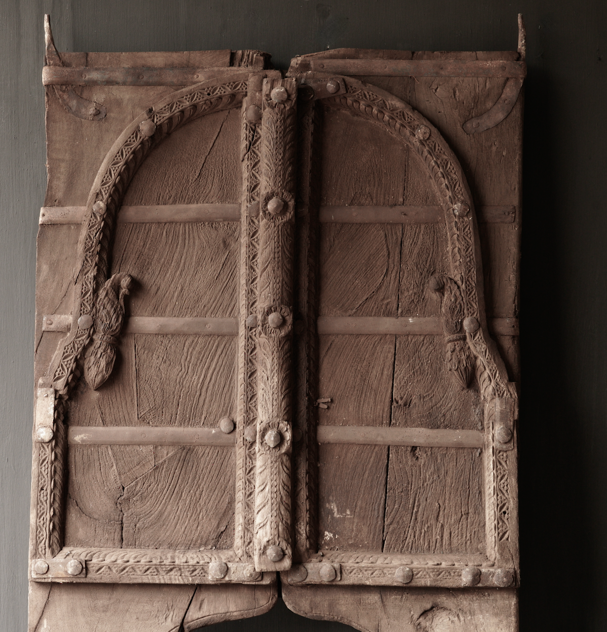 Tough wooden hatch from old building in India-3