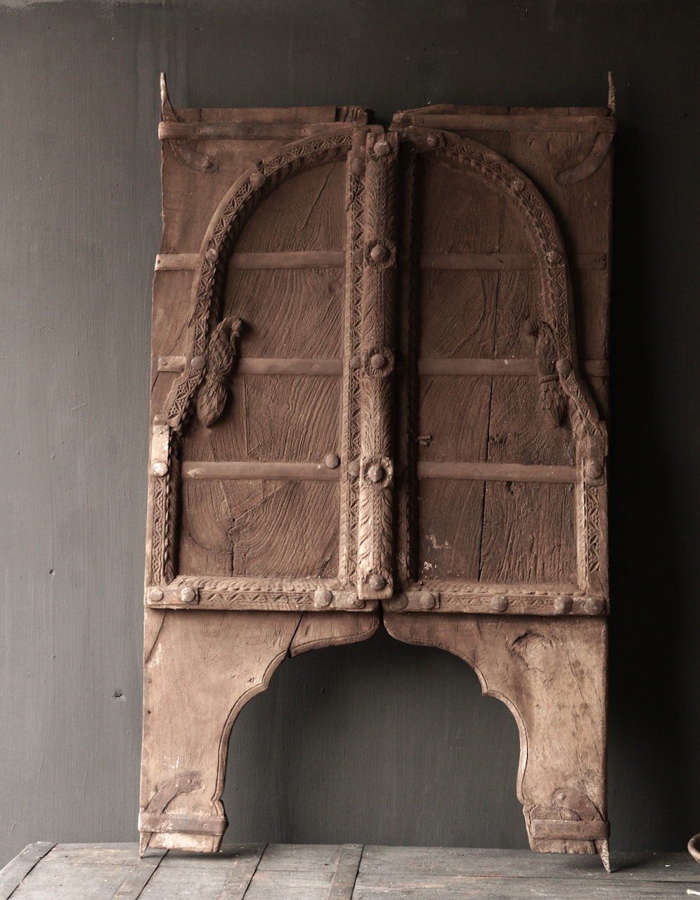 Tough wooden hatch from old building in India-2