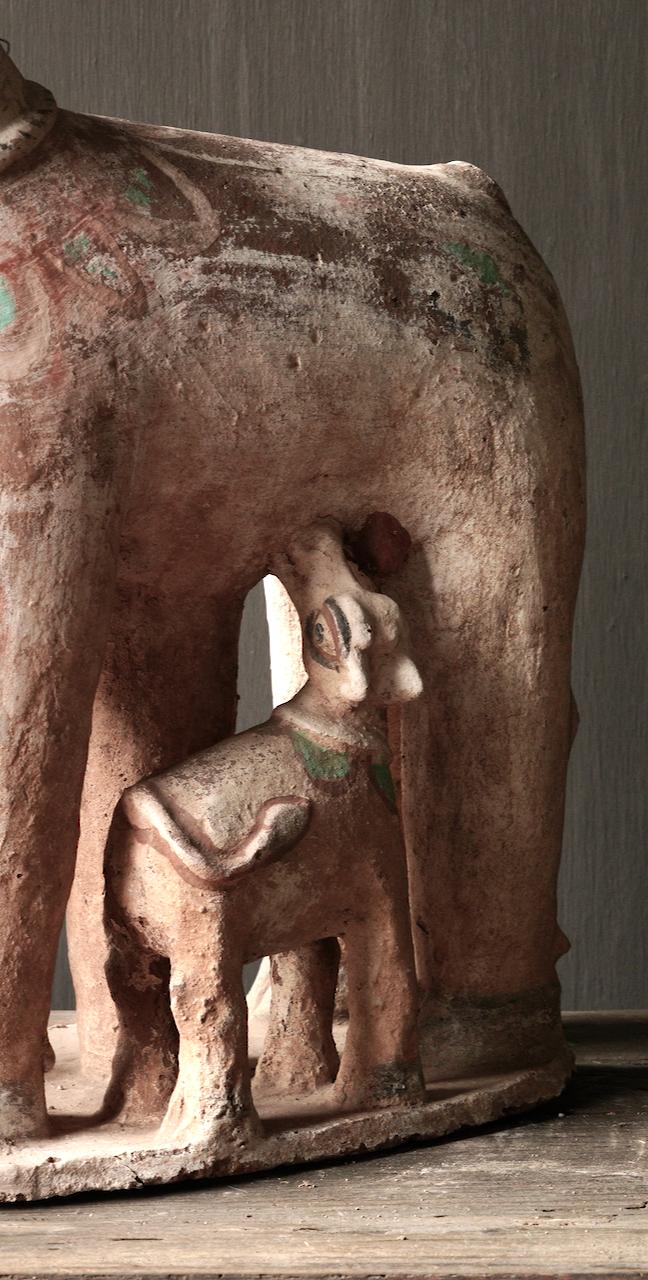Groot Antiek Aardewerk Nandi Heilige Koe-7
