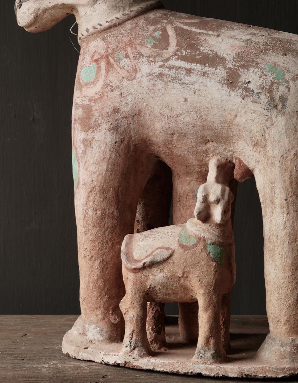 Groot Antiek Aardewerk Nandi Heilige Koe-8