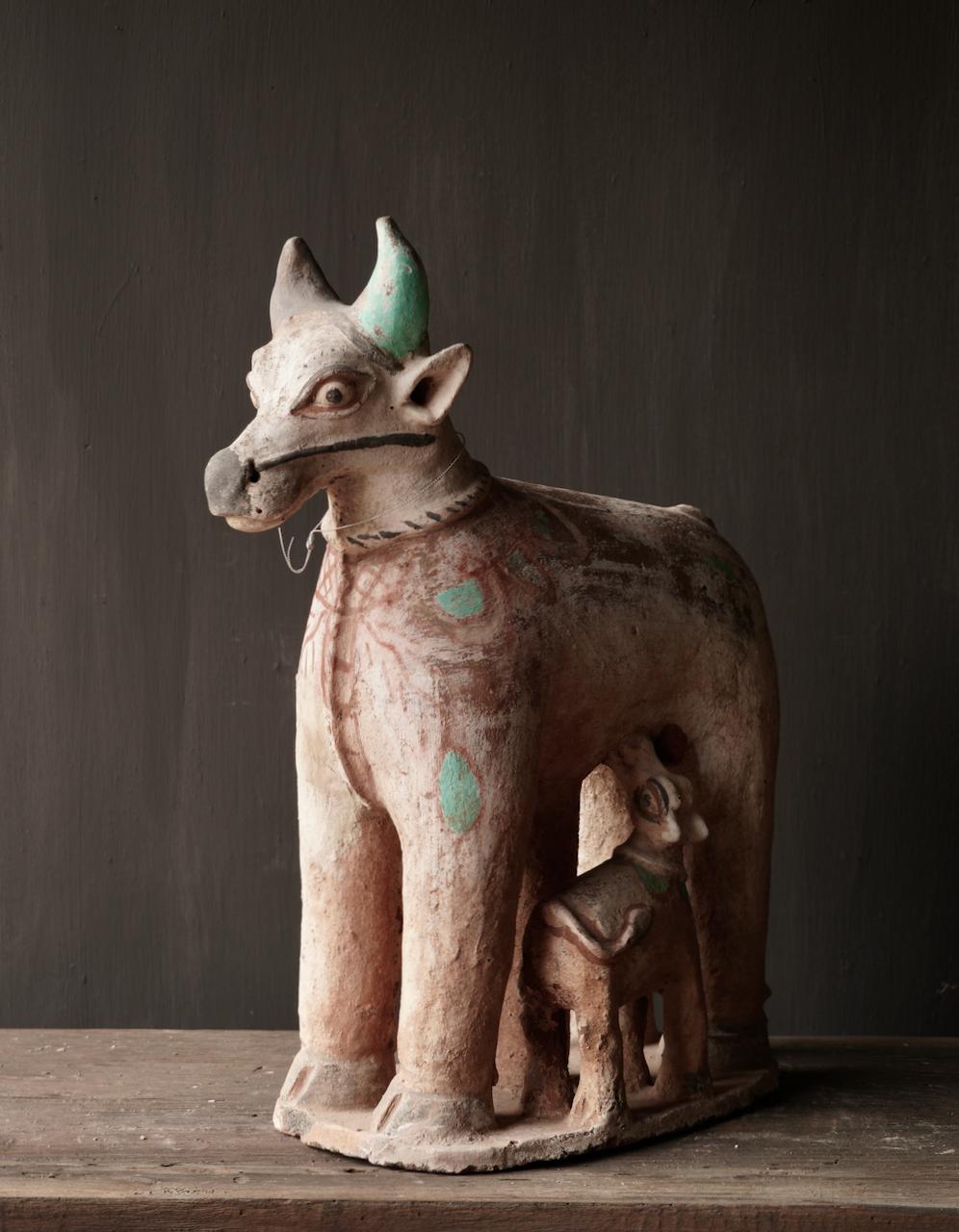 Groot Antiek Aardewerk Nandi Heilige Koe-9