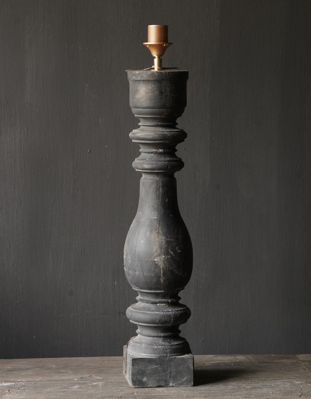 Oude houten Baluster lamp-2