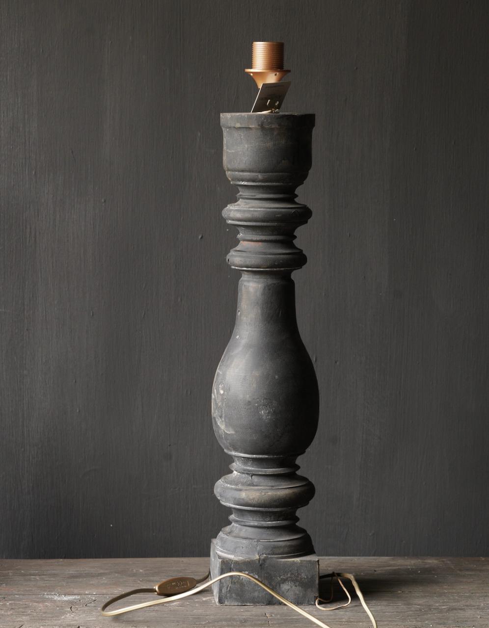 Oude houten Baluster lamp-5