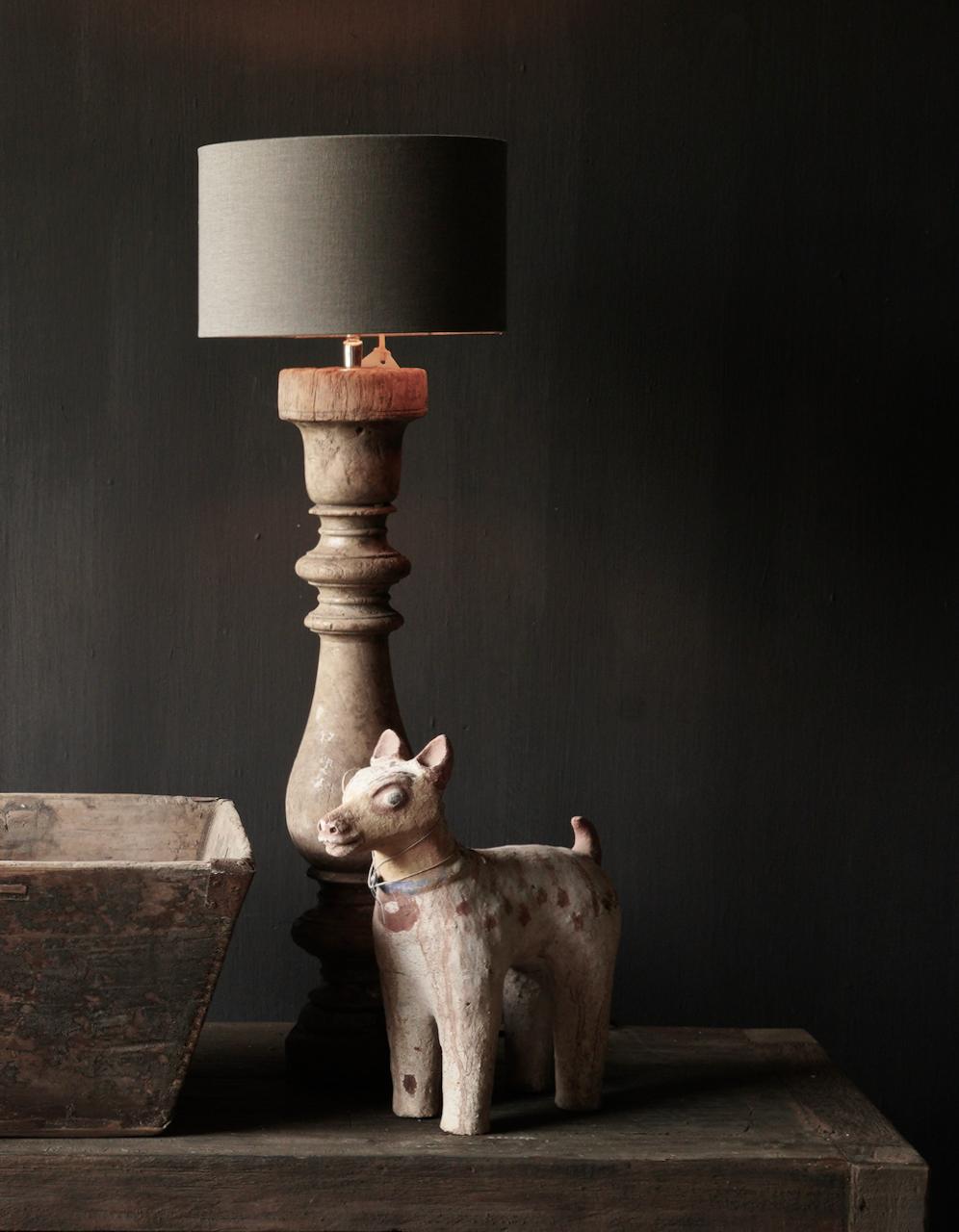 Oude houten Baluster lamp-1