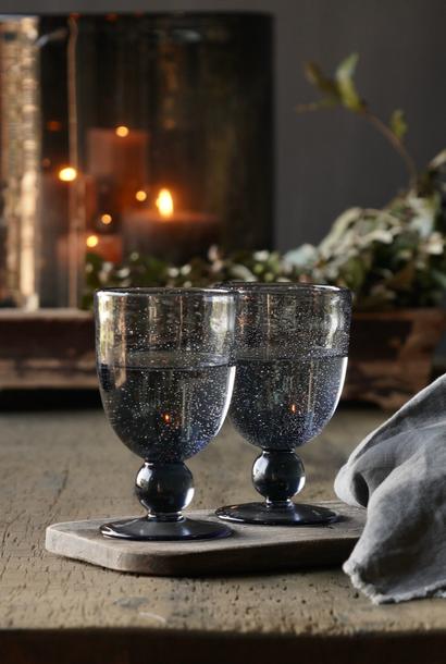 Schwarzes/blaues Blasenweinglas /Glasschale