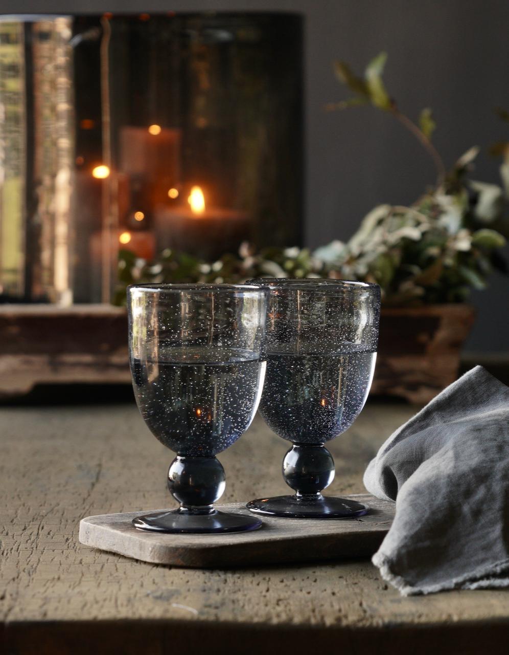 Schwarzes/blaues Blasenweinglas /Glasschale-1