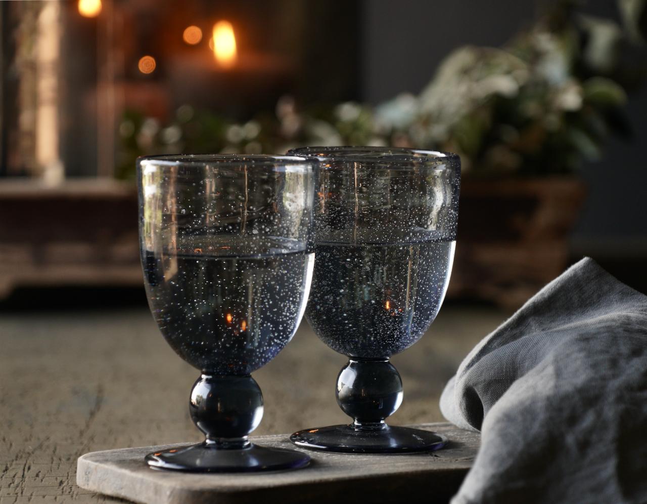Schwarzes/blaues Blasenweinglas /Glasschale-2
