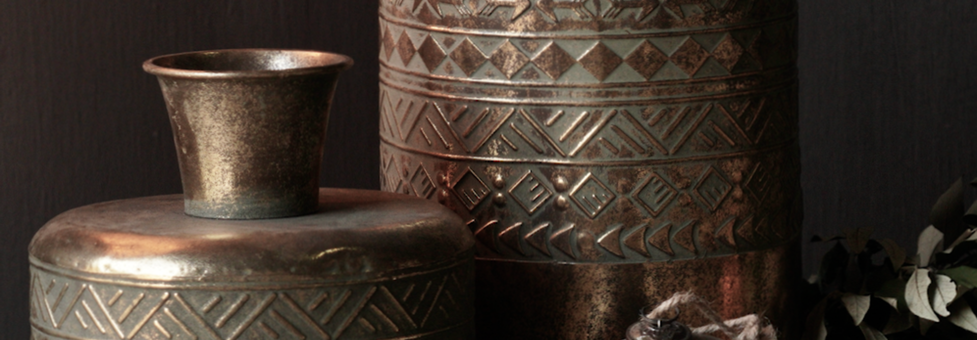 Metallvase Antik gold