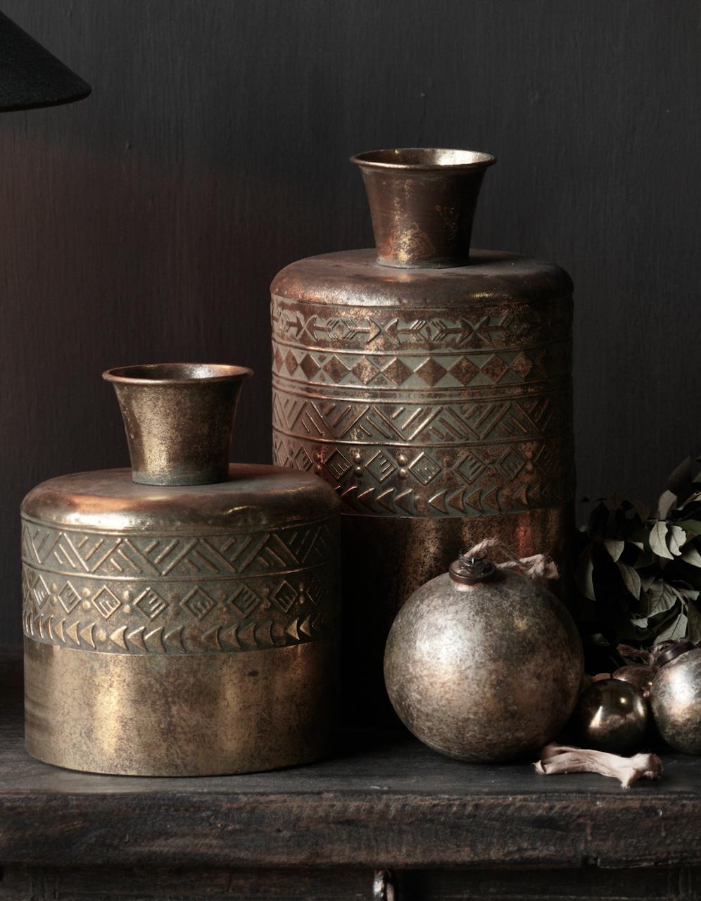 metalen vaas Antiek goud-1