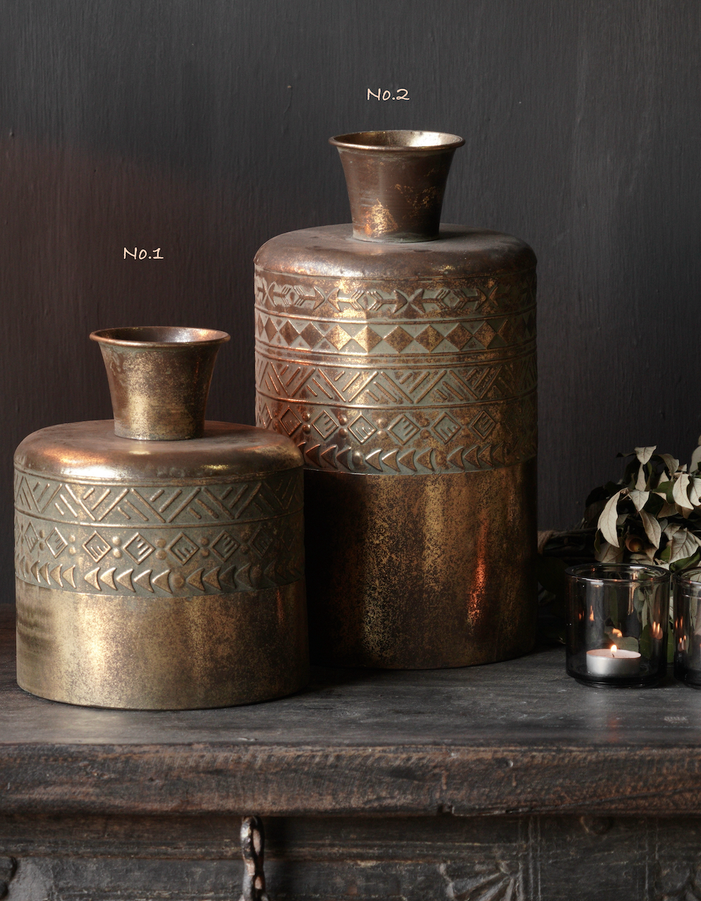 Metallvase Antik gold-2