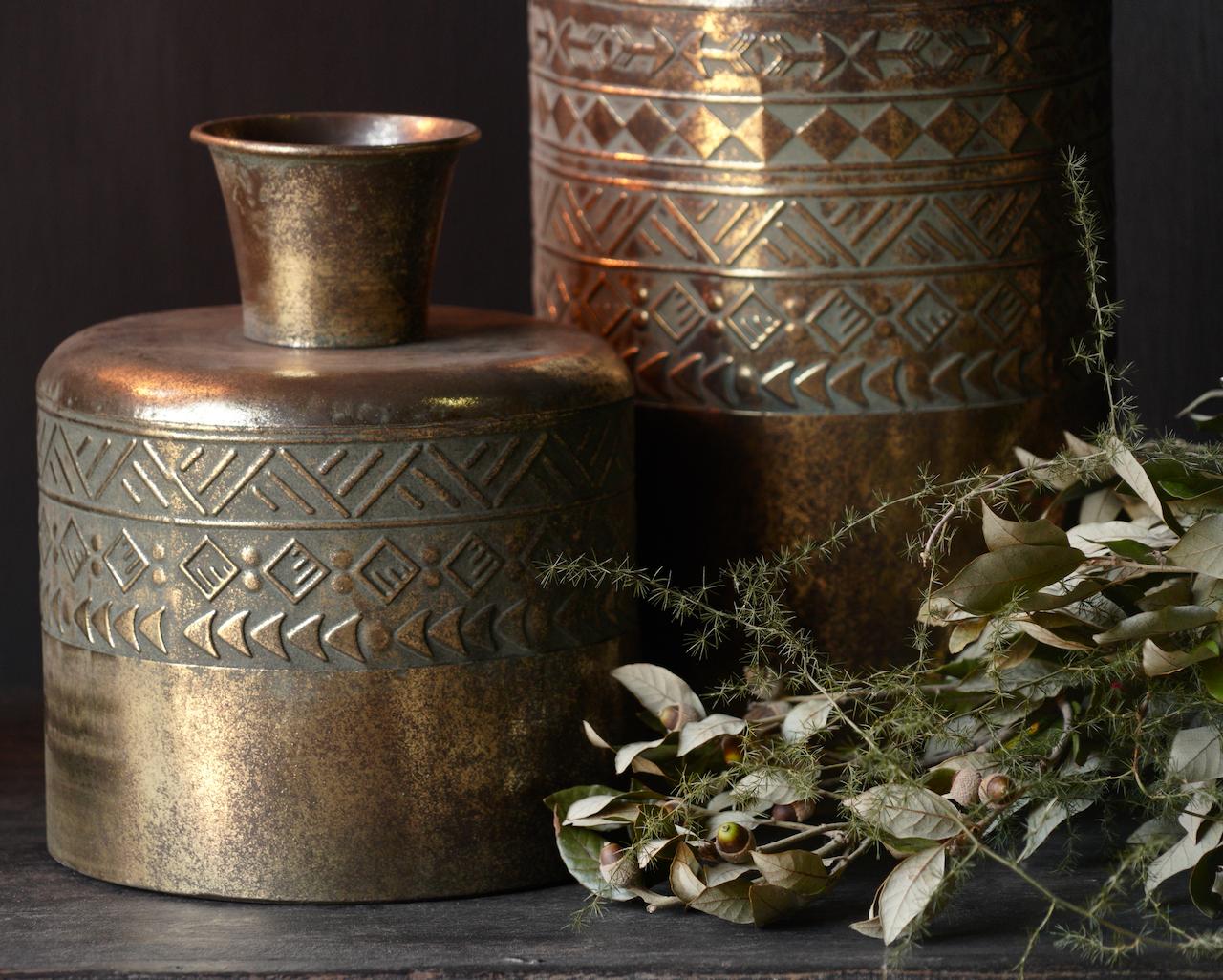 Metallvase Antik gold-3