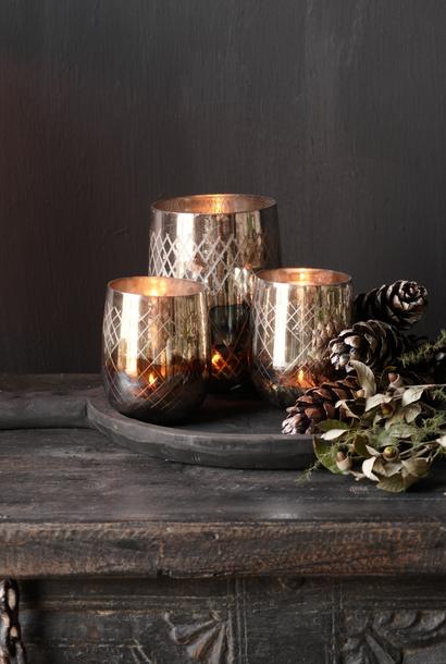 Glazen waxine /kaarsen  houder oud goud /zilver