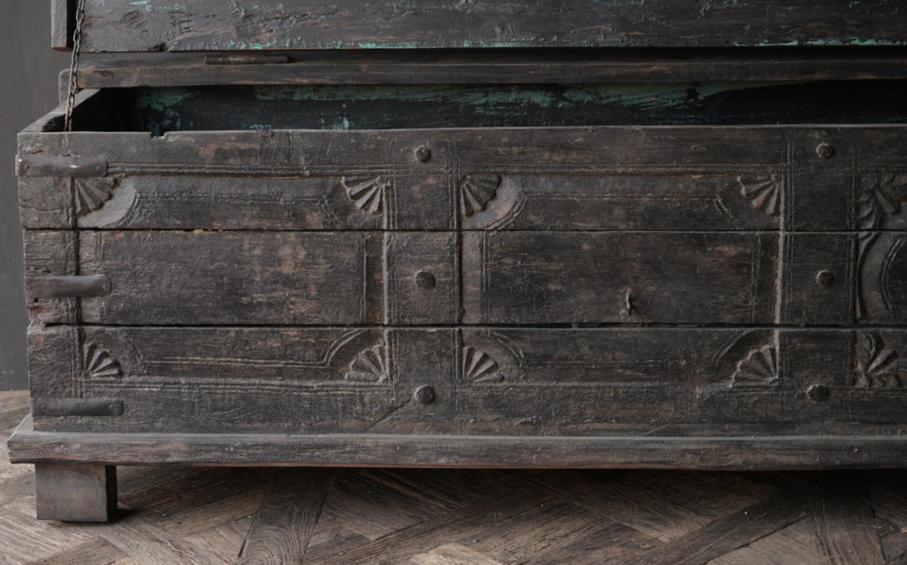 Oude Authentieke houten kist  /tv meubel-3