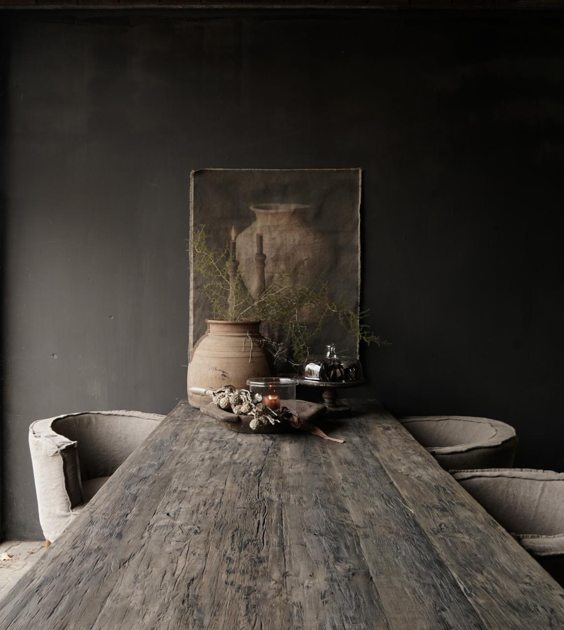 Stoer donker oud houten eetkamer tafel  met A poot-5