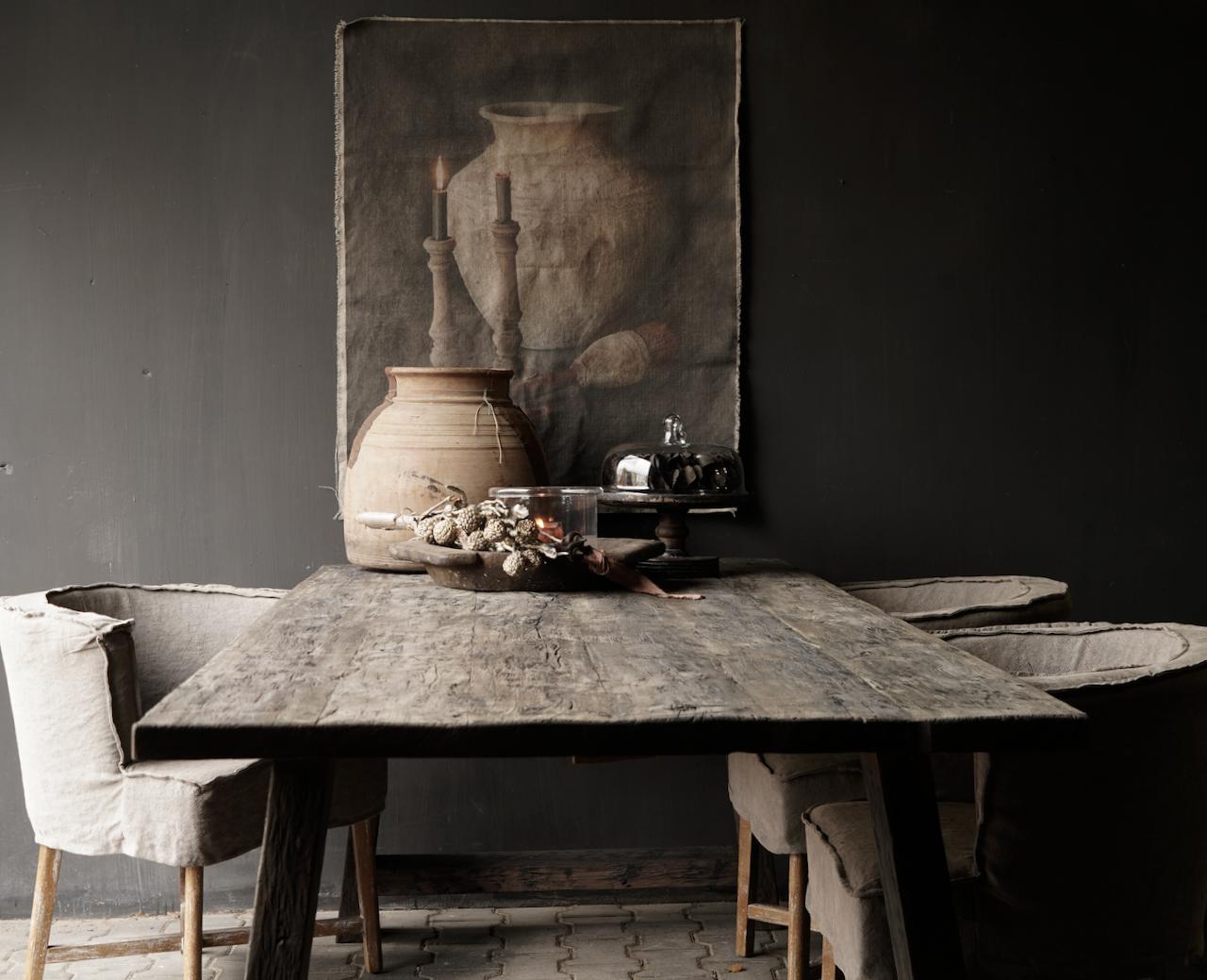 Stoer donker oud houten eetkamer tafel  met A poot-2
