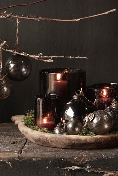 Grijs Smoke glazen kerst bal  met bubbles