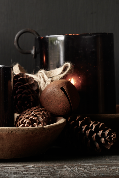 Bunch with three pine cones and two rusty bells