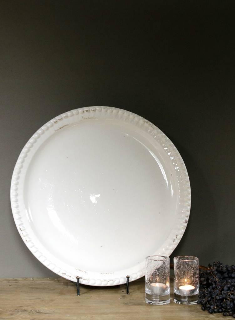 witte schaal keramiek met bewerkte noppen rand-1