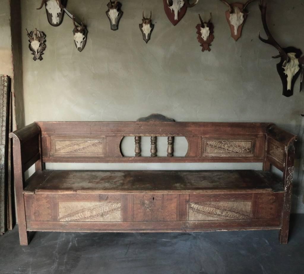 Antiek houten klepbank-2