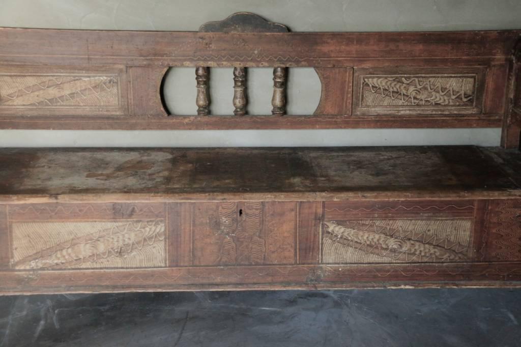 Antiek houten klepbank-3