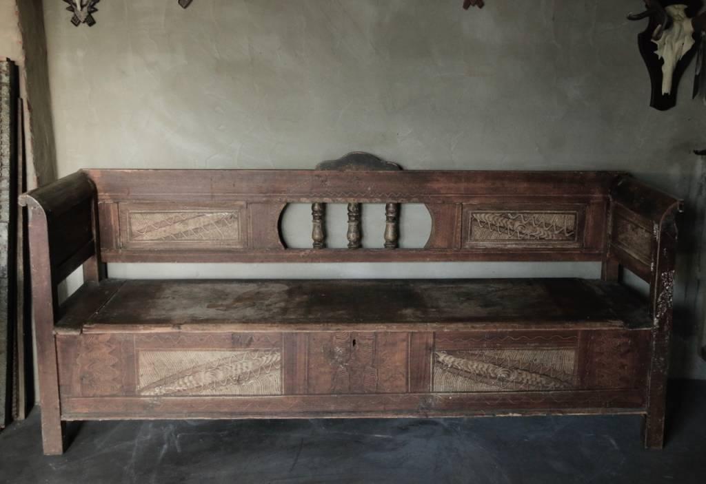 Antiek houten klepbank-4