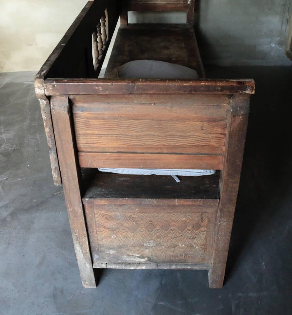Antiek houten klepbank-7