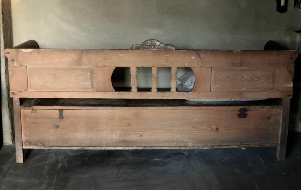 Antiek houten klepbank-8