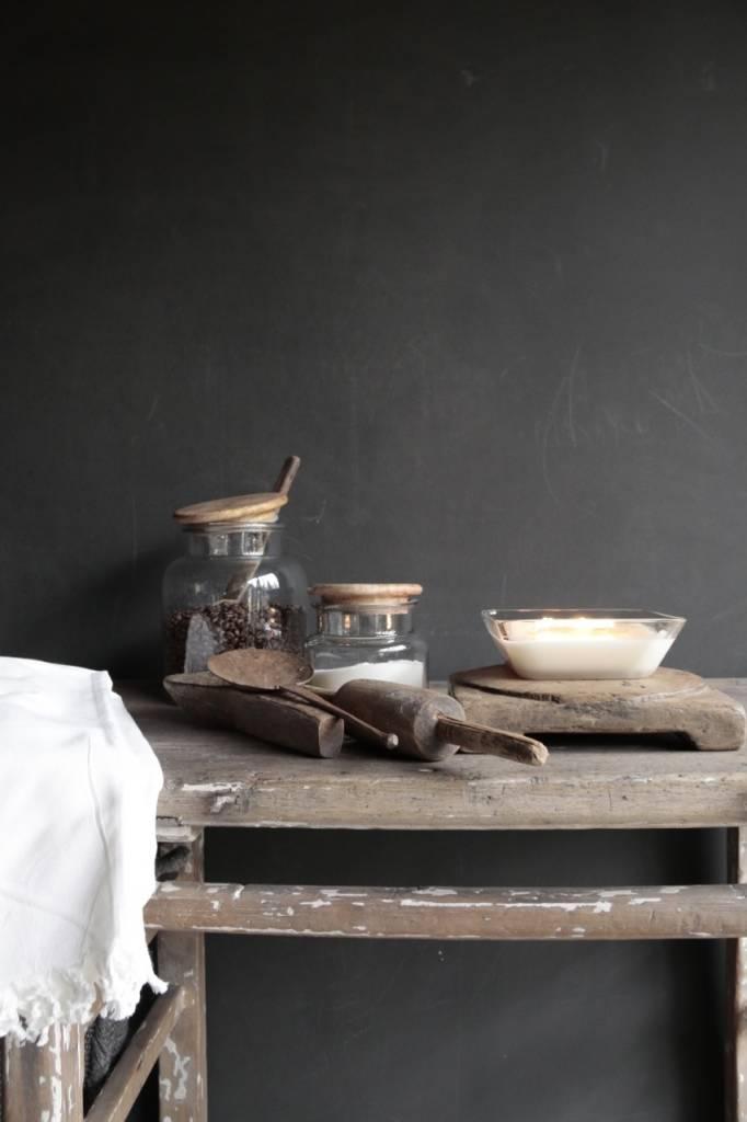 Glazen voorraad pot met houten deksel-2