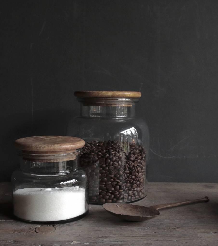 Glazen voorraad pot met houten deksel-3
