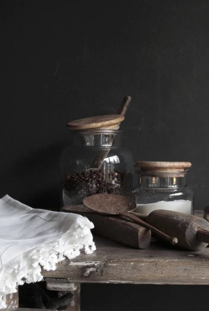 Beautiful Tough Glass stock jar with wooden lid