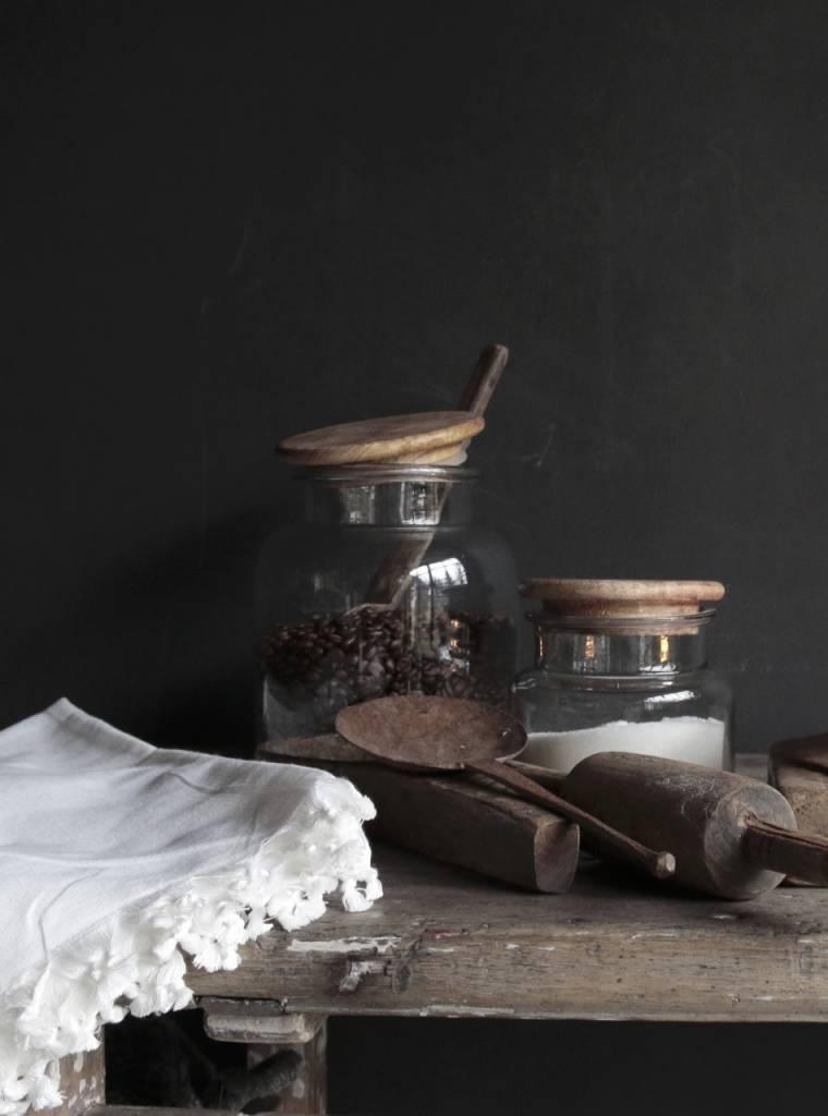 Glazen voorraad pot met houten deksel-1