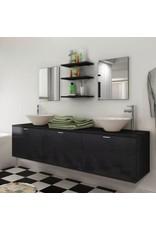 Achtdelige badkamermeubel en wastafelset zwart